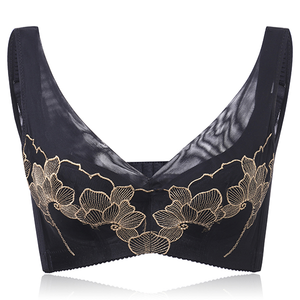 Women Deep Plunge Luxurious Embroidery Adjusted Bra