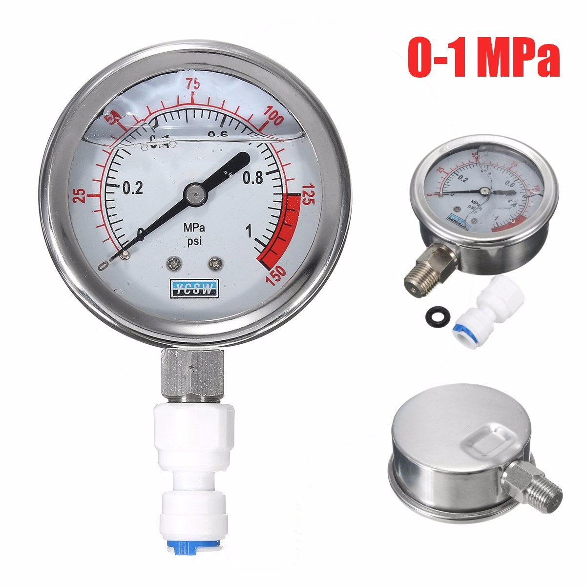 0-1MPa 0-150Psi Oil Filled Water Hydraulic Pressure Gauge Dial Meter Tool G1/2
