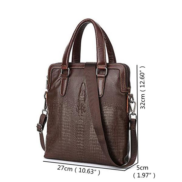 Men Genuine Leather Vintage Business Handbag Crossbody Bag