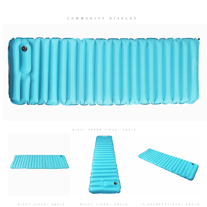 IPRee 185CM Hand Pressure Inflatable Portable Sleeping Camping Hiking Mat Pad with Pillow