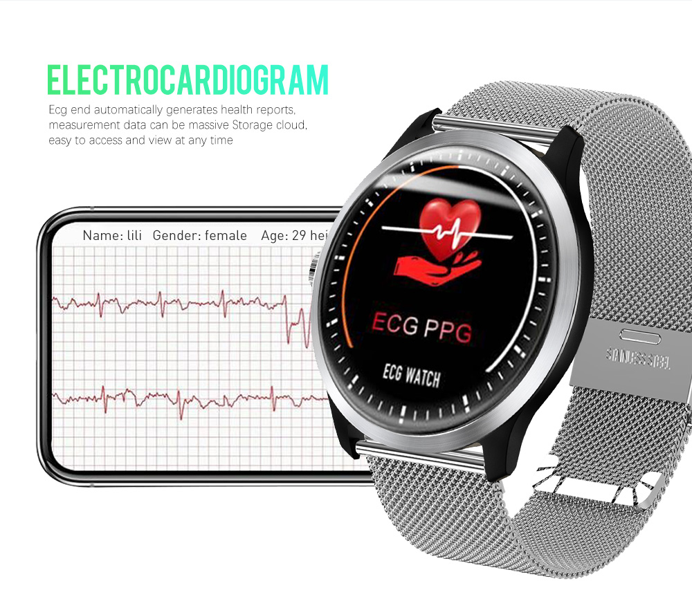 Men's Watches N58 Ecg Ppg Smart Watch With Electrocardiograph Ecg Display Heart Rate Monitor Blood Pressure Mesh Steel Smartwatch Beautiful In Colour