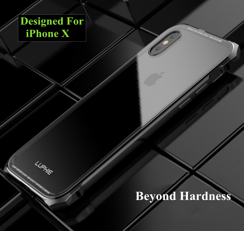 Luphie Metal Bumper+9H Clear Transparent Tempered Glass Shell Case For iPhone X
