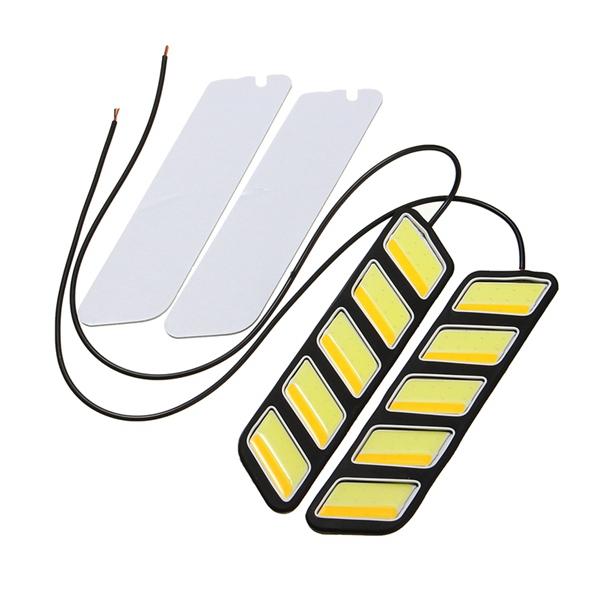 Pair Square Shape 800LM White & Yellow COB LED DRL Daytime Running Fog Turn Signal Light