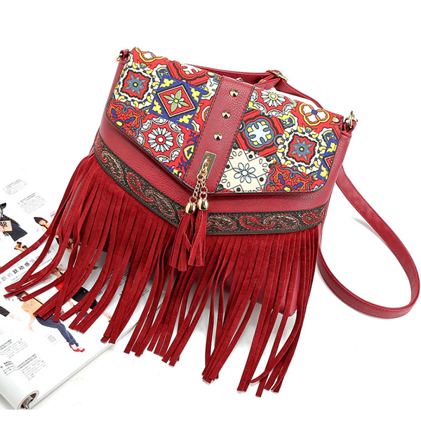 Women PU Leather National Tassel Vintage Casual Shoulder Bag Crossbody Bag