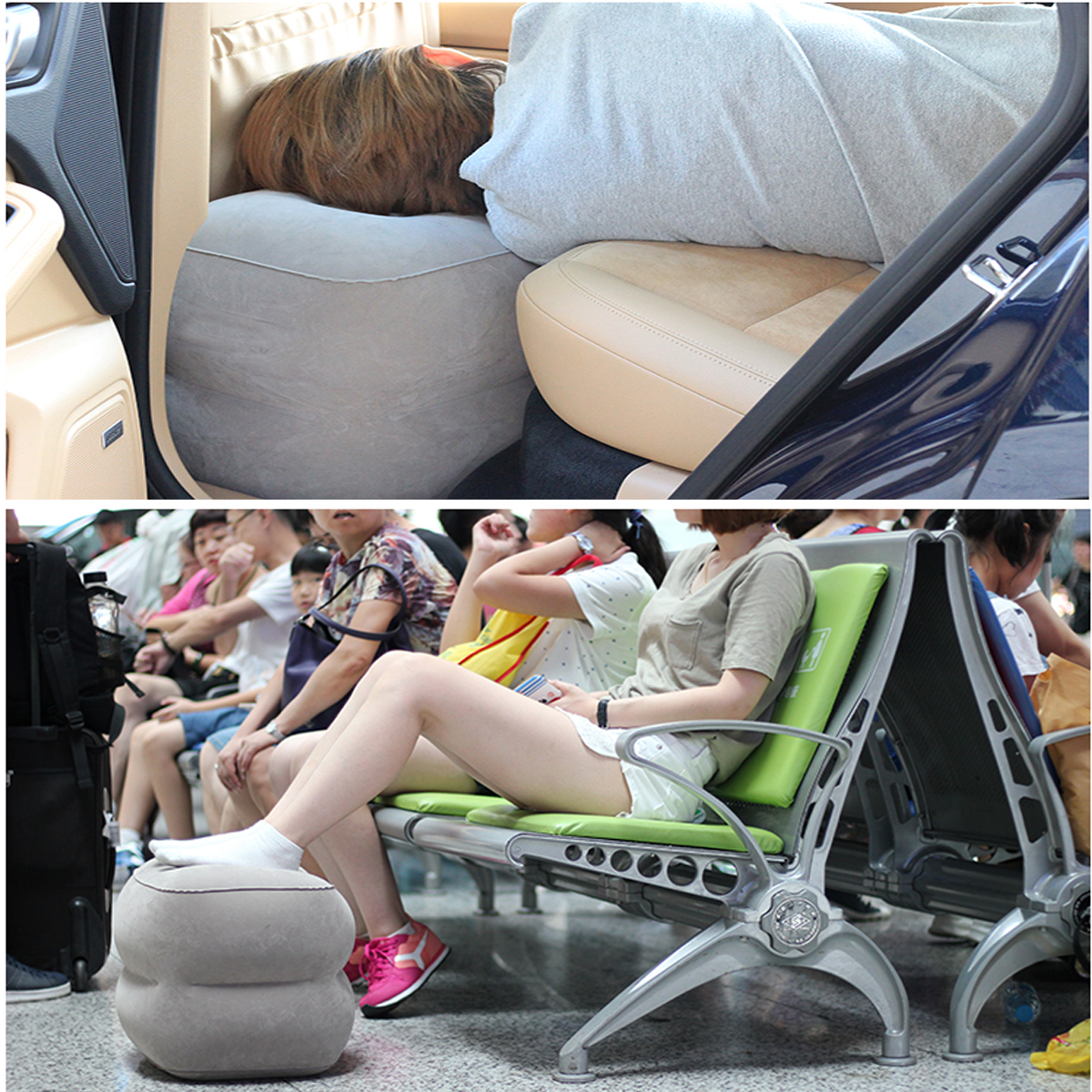 Airplane Train Travel Inflatable Foot Rest Portable Pillow Pad Cushion With Pump