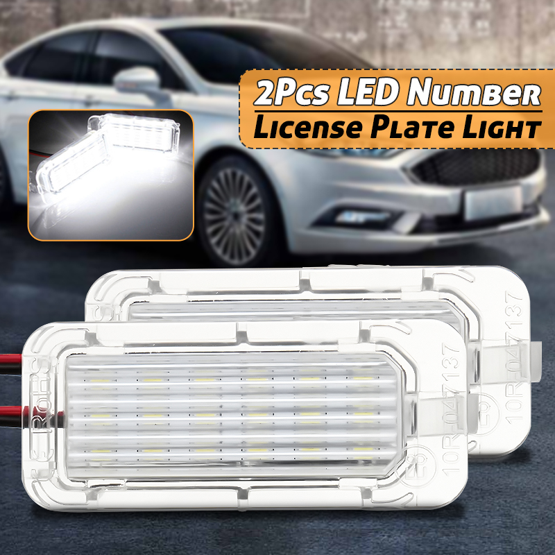 2Pcs LED Car License Plate Lights Bulbs for Ford Fiesta Focus Kuga C-MAX Mondeo