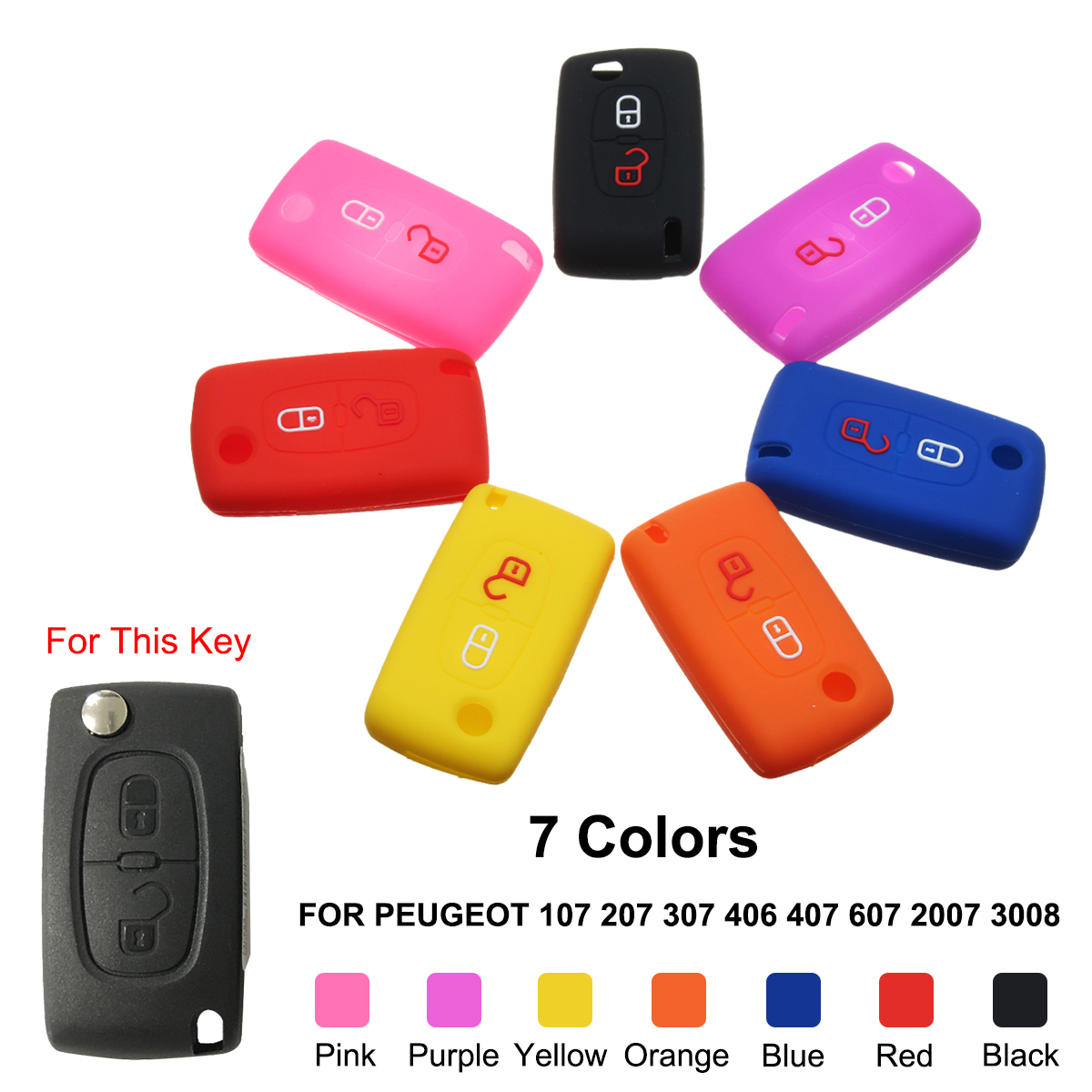 2 Buttons Silicone Car Key Remote Case/bag Cover Holder for Peugeot 2007 3008 807