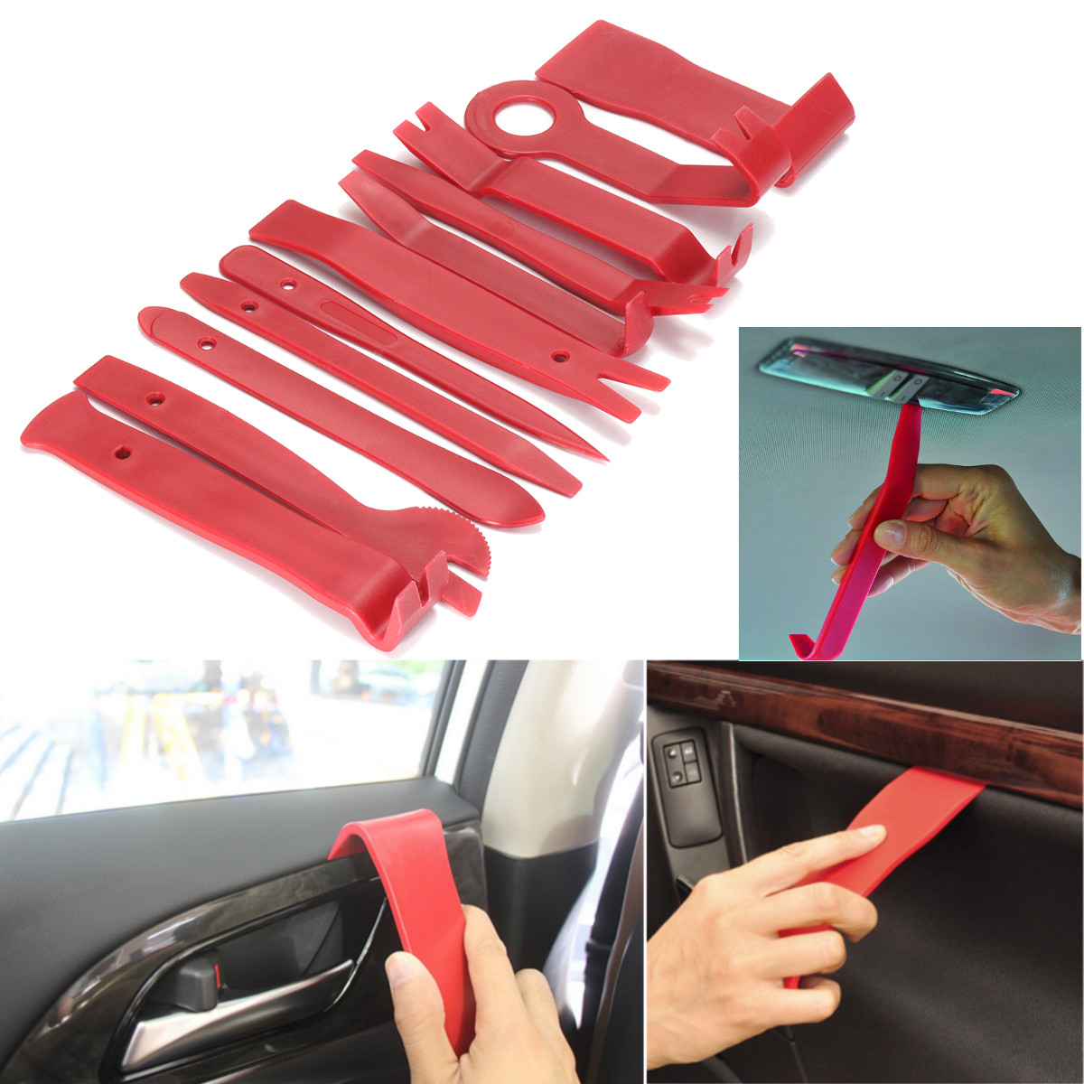 12pcs Car Door Molding Dash Panel Audio Trim Removal Tool Kit & Clip Pliers