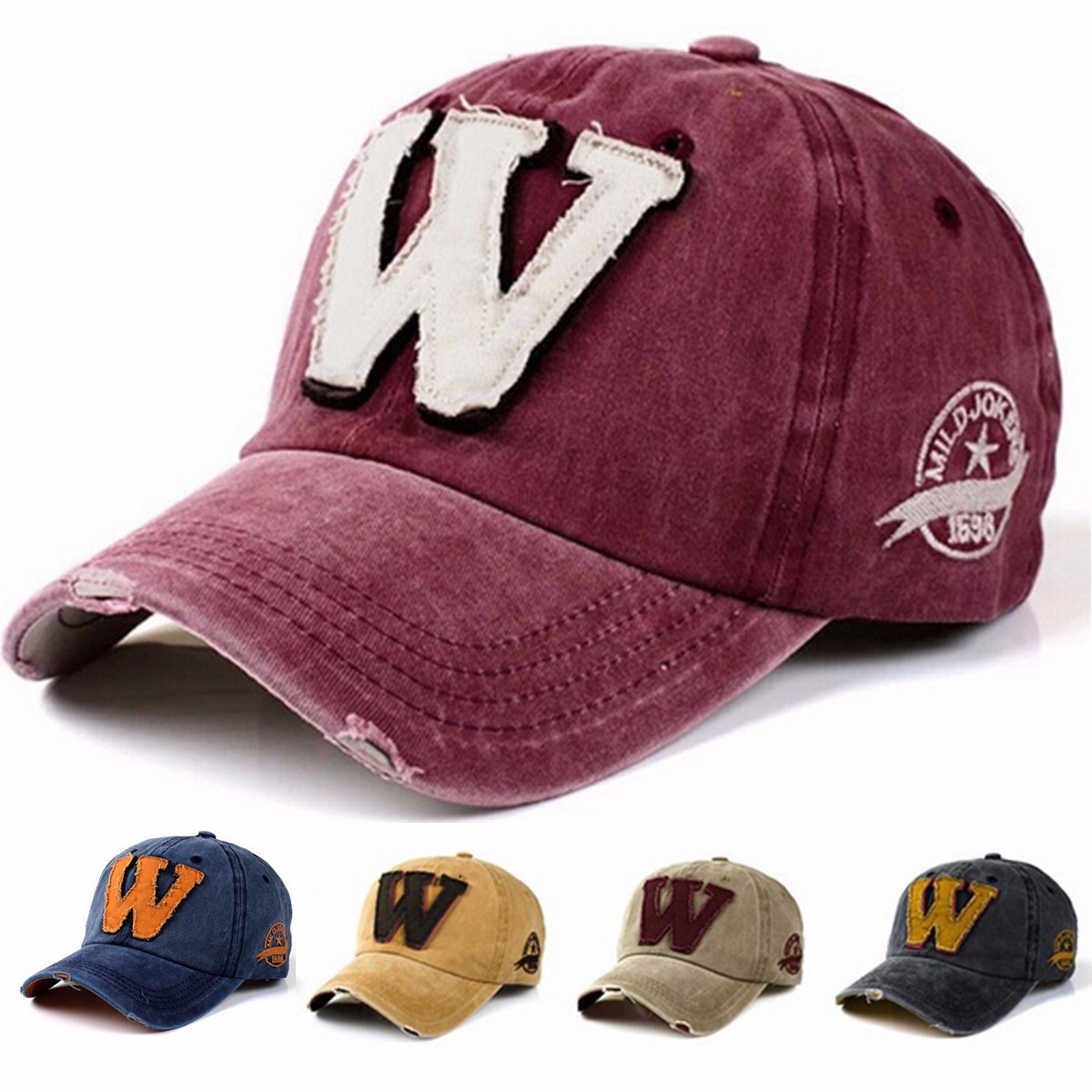 Letter W Embroidery Denim Washed Baseball Cap