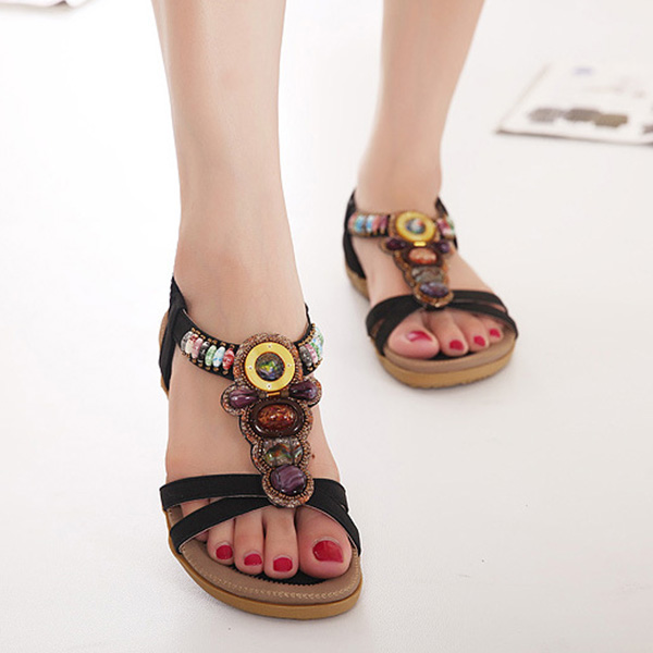 Women Summer Leisure Beach Sandals Peep Toe Chic Shoes Casual Flat Sandals