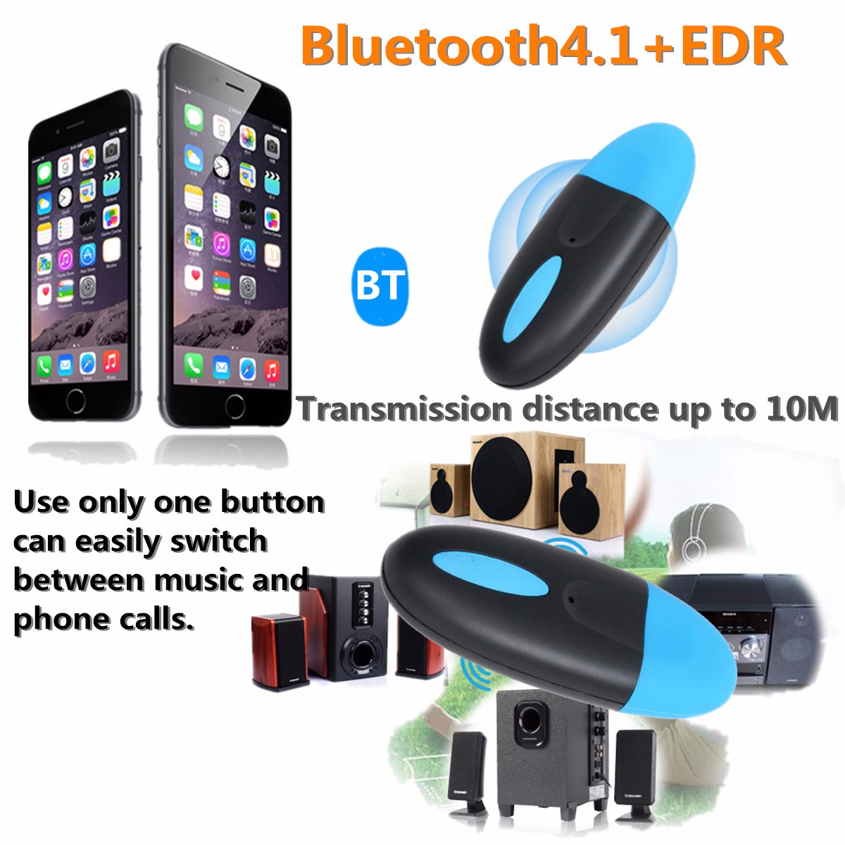 bluetooth 4.1 Wireless 3.5mm Audio Stereo Music Speaker Receiver Adapter Dongle