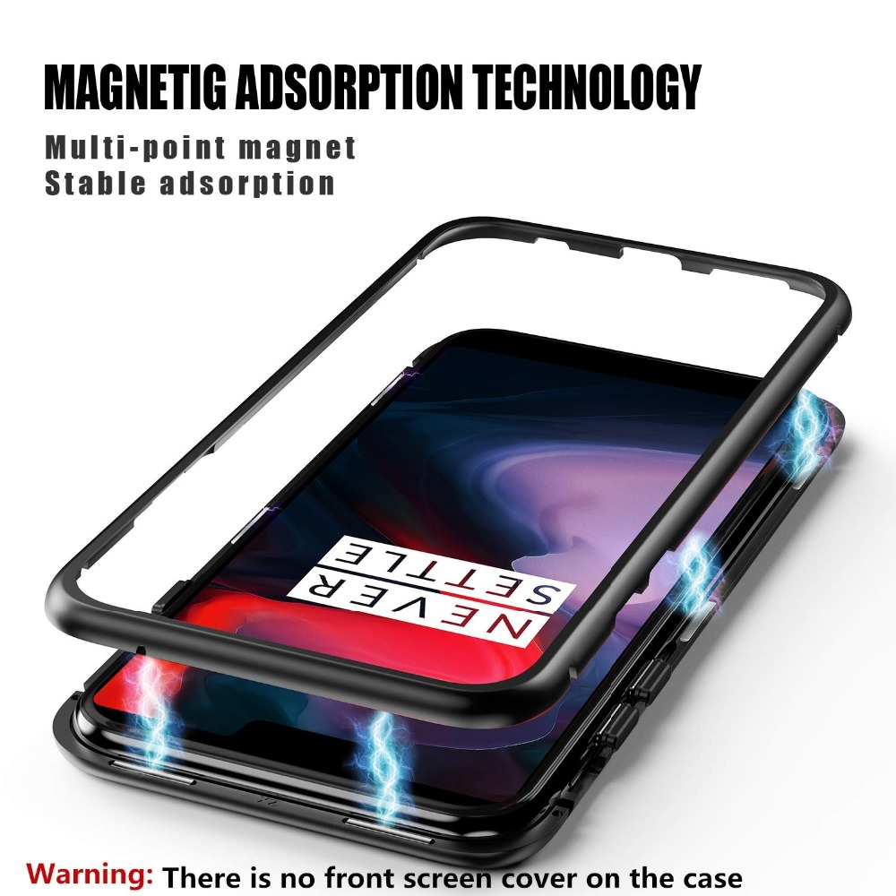 Bakeey 360° Magnetic Adsorption Metal Tempered Glass Flip Protective Case for OnePlus 6