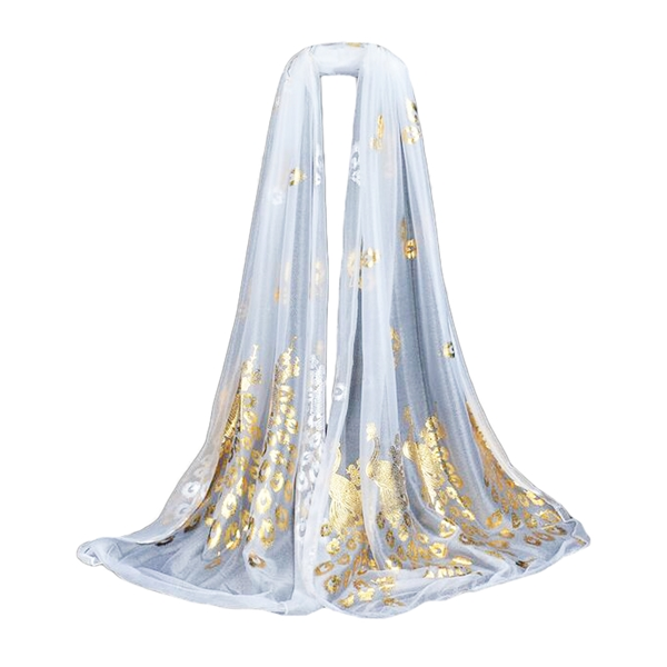 Fashion Long Gold Peacock Print Scarf Woman Ladies Thin Soft Shawl Scarves Wrap