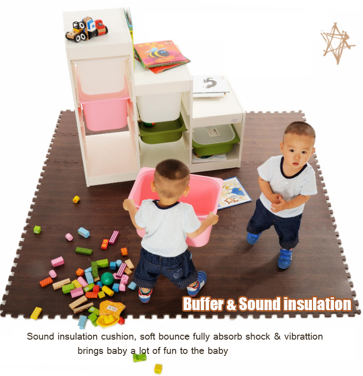 Wood Grain Ground Carpet EVA Foam Puzzles Cushion Split Joint Play Mats