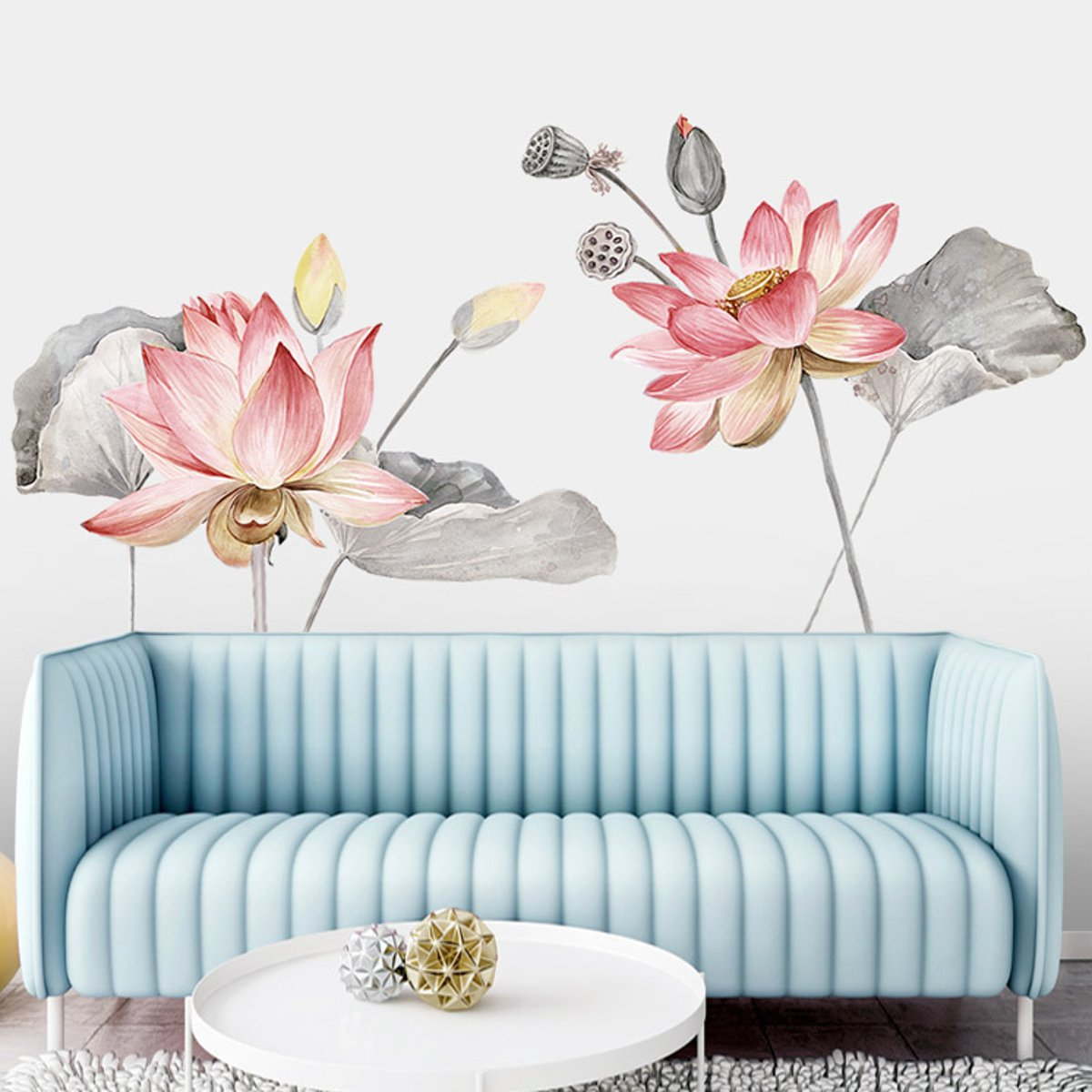 Lotus Flower Wall Poster Vinyl Wall Sticker Removable Room Home Decor Chinese Style