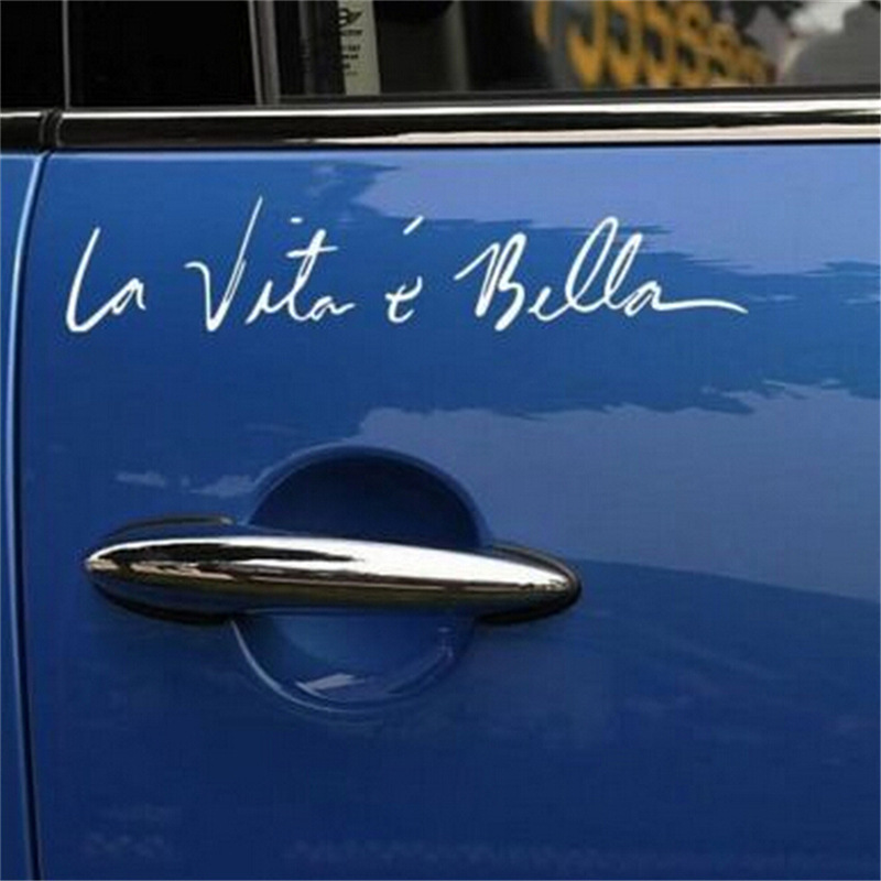 Car Sticker La Vita e Bella Decals Vehicle Truck Bumper Window Wall Mirror Decoration
