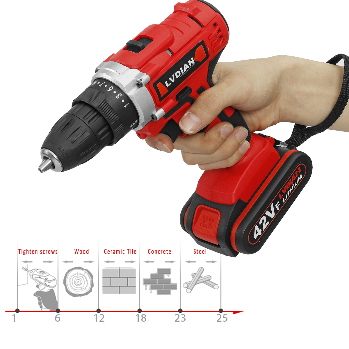 42V 25+1 Torque Cordless Rechargeable Electric Drill Screwdriver LED Work Light