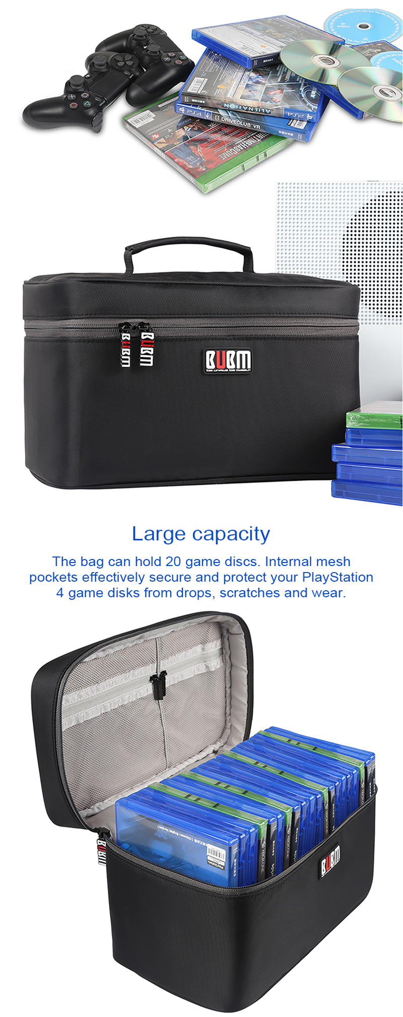 BUBM YGX-20P Portable Video Game Carrying Case Travel Storage Bag for Sony for XBOX for Nintendo