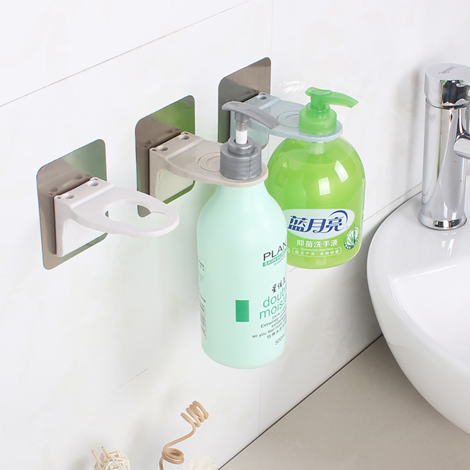 Wall Mounted Magic Sticky Shampoo Hook Shower Hand Soap Bottle Hanging Holder Bathroom Hanger Accessories