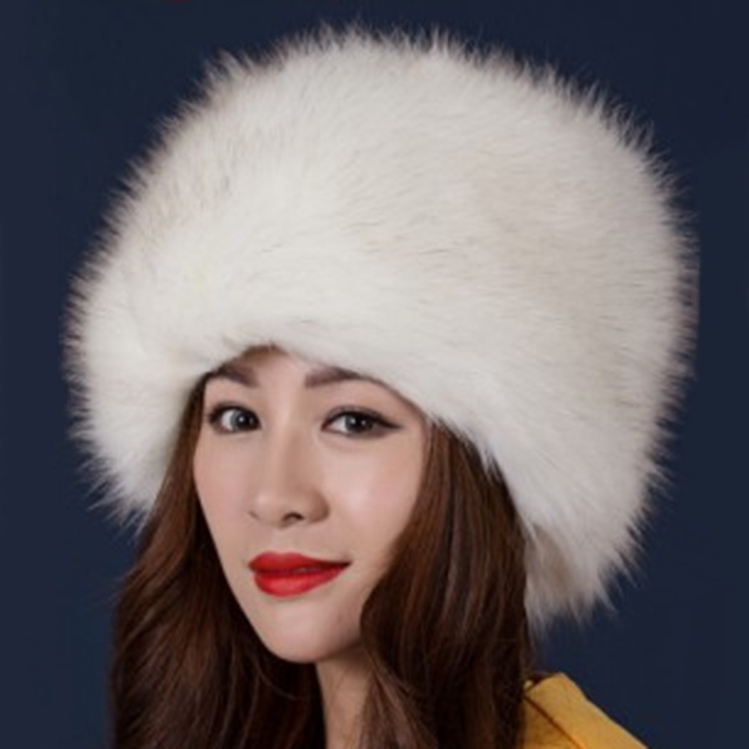 Women Ladies Fluffy Faux Fox Fur Russian Cossack Style Winter Hat Warm Cap