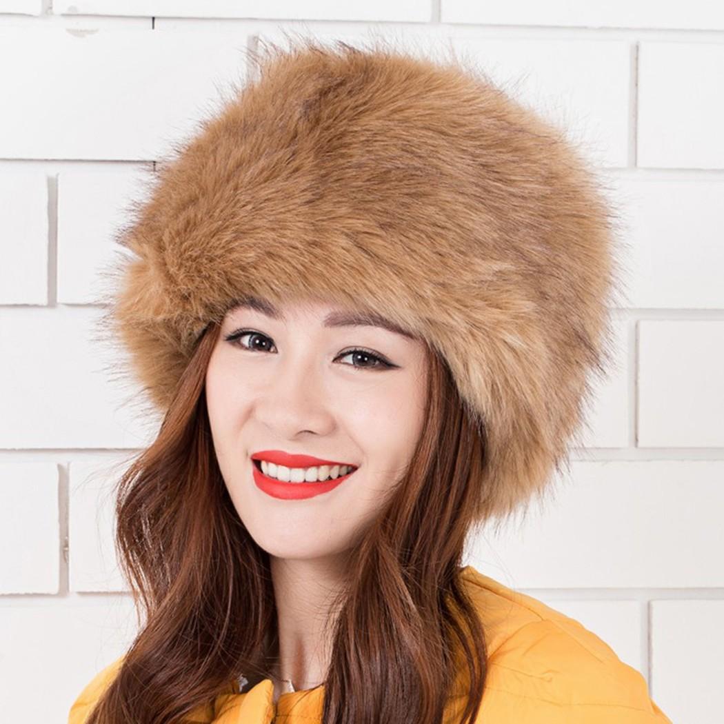 Women Ladies Fluffy Faux Fox Fur Russian Cossack Style Winter Hat Warm Cap