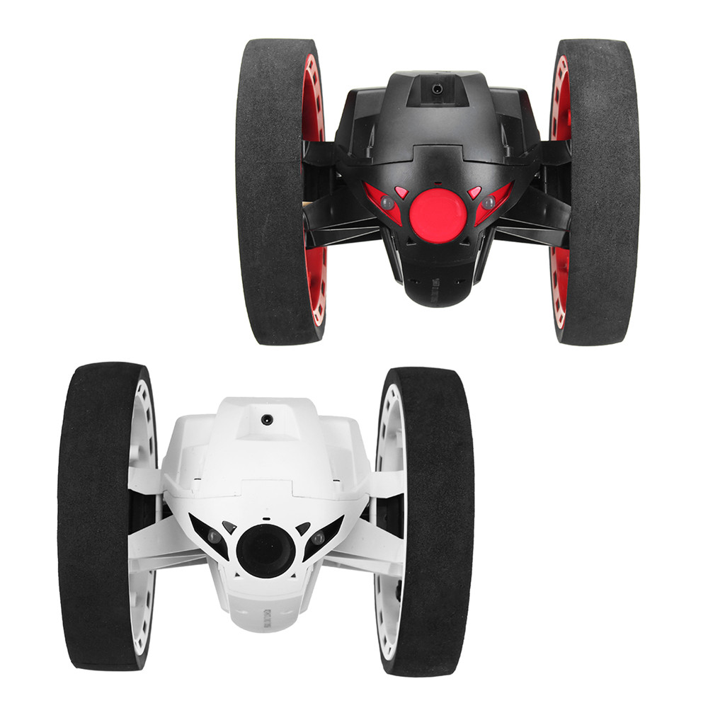 Mini Jump 2.4GHz RC Car With Flexible Wheels Rotation LED Light Robot Toys Gifts
