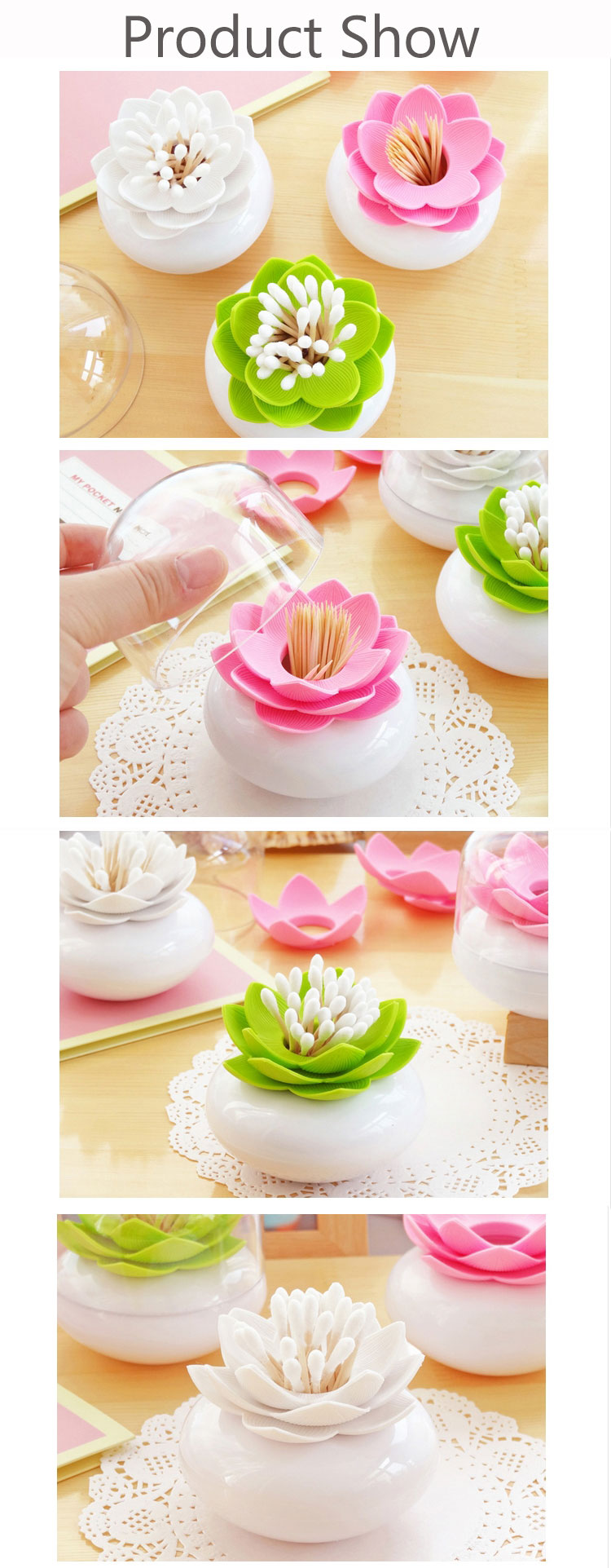 Cotton Swab Holder Toothpick Storage Box Cotton Bud Case Household Organizer Home Decorate