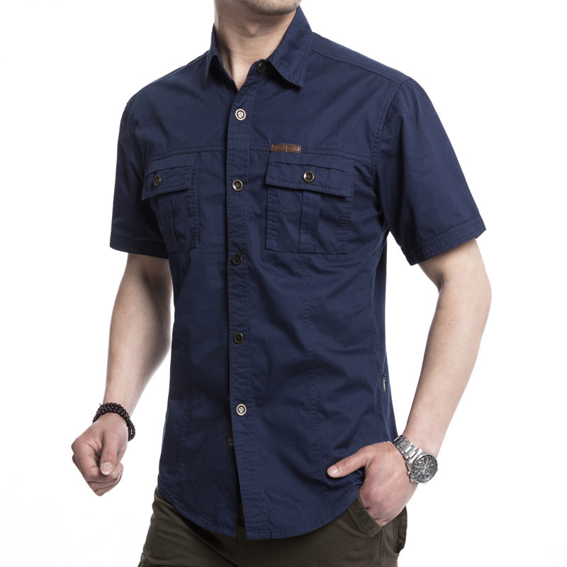 Outdoor Military Double Pockets Solid Color Casual Short Sleeve Men Cotton Shirt