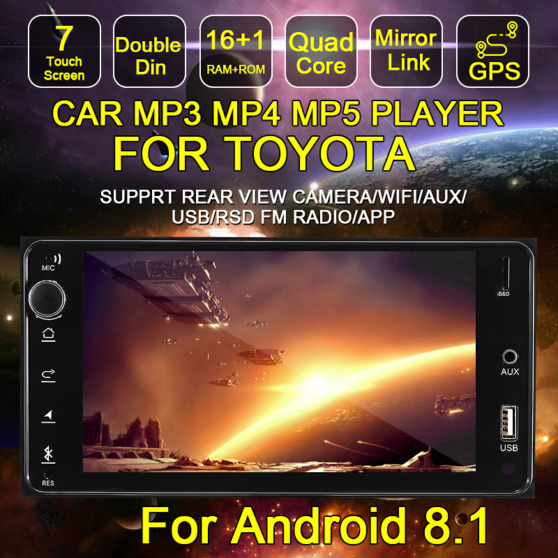 4 Channels x 40W MAX USB / AUX 4 Core 1080P Car Radio Stereo 7'' Android MP5 Multimedia Player 16GB For Toyota Models
