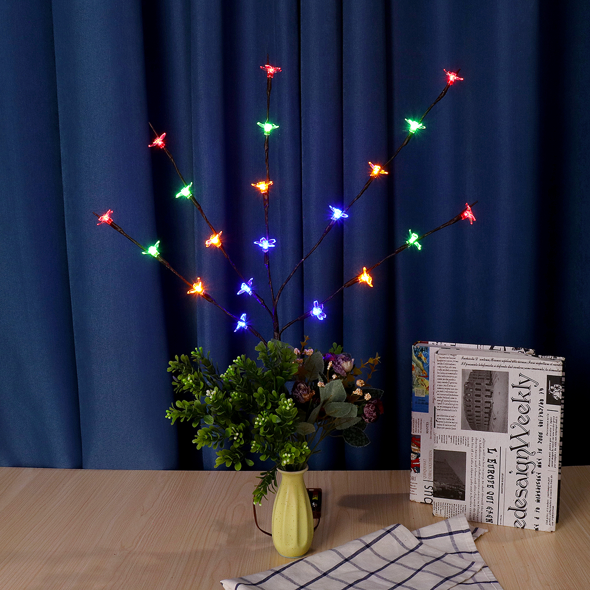 70CM Battery Powered 20LED Cherry Blossoms Branch Tree Fairy String Light Christmas Home Party Decor