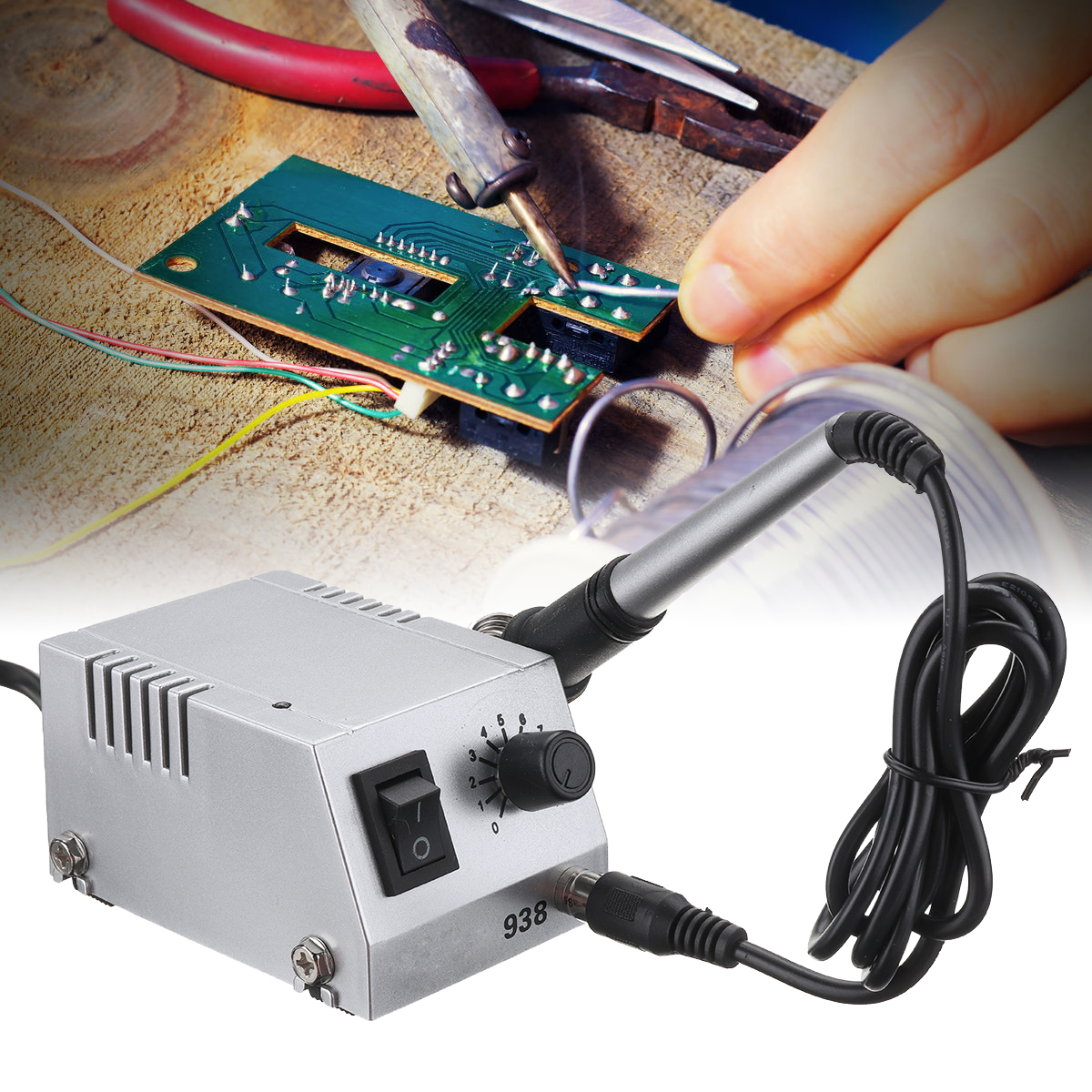 BK-938 Mini Electric Soldering Station Solder Iron Welding Machine Wattage Temperature Adjustable