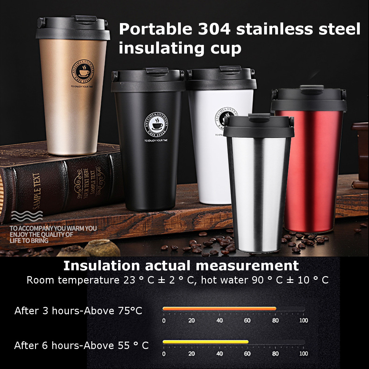 500ml Outdoor Portable Vacuum Cup Stainless Steel Thermos Insulated Water Bottle Tea Coffee Mug