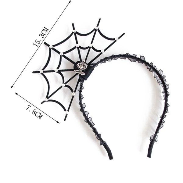Halloween Party Princess Spider Web Hair Ornaments Toys Vintage Baroque Girl Tiara Fashion Lace Hair Bands