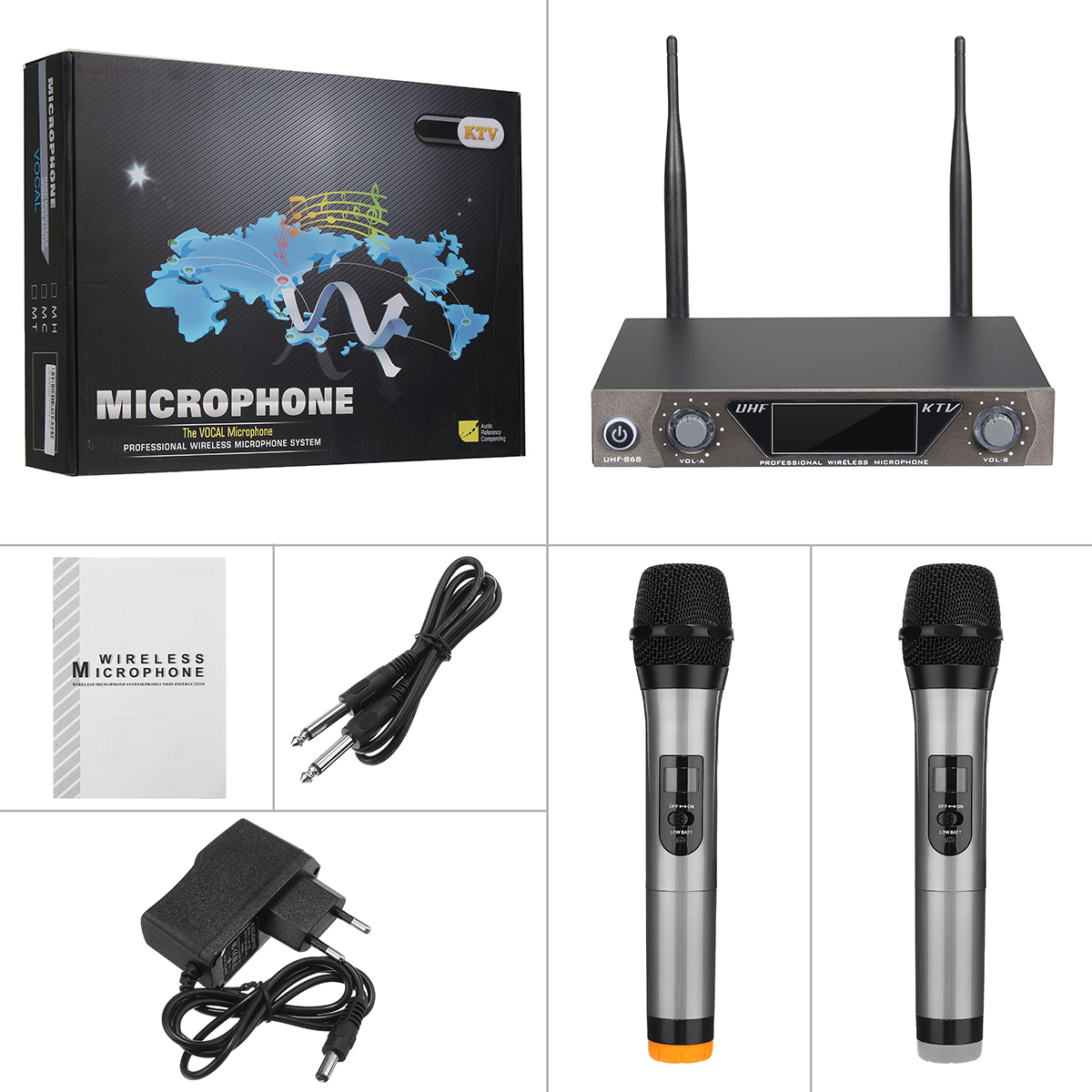 LCD Dual Channel UHF Wireless Hand Held 2 Handheld Microphone Mic System Kit