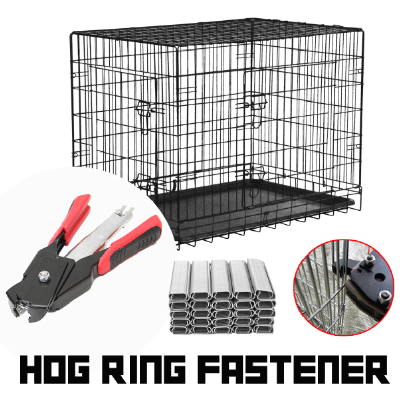 Hog Ring Fastener Gun Cage Hencoop Birdcage Pliers Seal Ring Clamp Pet Nail Pliers w/2500 C Clips