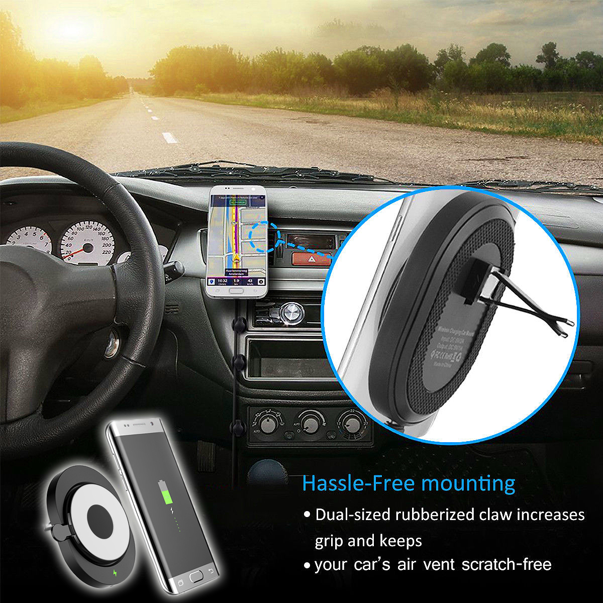 W+1 Qi Wireless Cell Phone Charger Air Vent Car Fast Charging Mount Holder for Samsung S8 iPhone 8 X