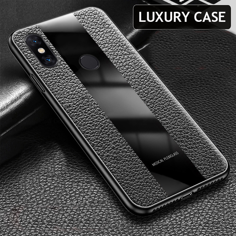 Bakeey Luxury Shockproof Soft Silicone PU Leather Tempered Glass Protective Case For Xiaomi Redmi Note 5 / Redmi Note 5 Pro