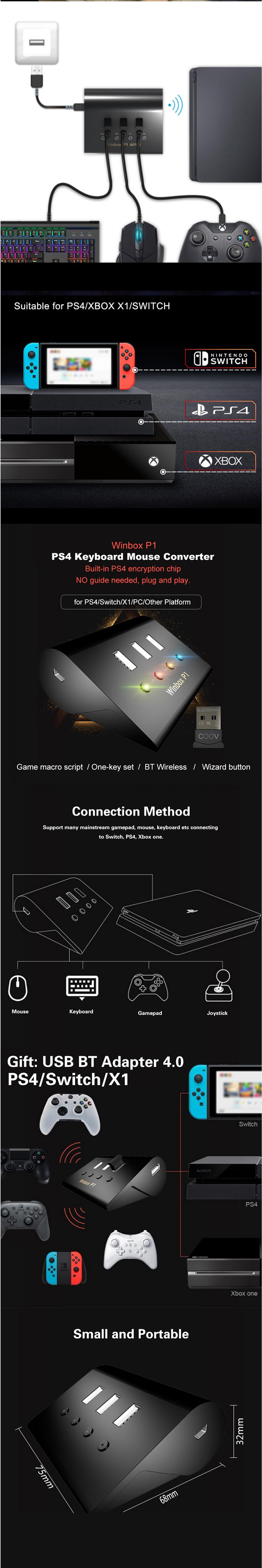 Winbox P1 Pro Keyboard Mouse Converter Adapter Game Console for