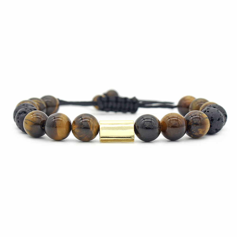 Vintge Tiger Eye Stone Adjustable Bracelets Gift for Men