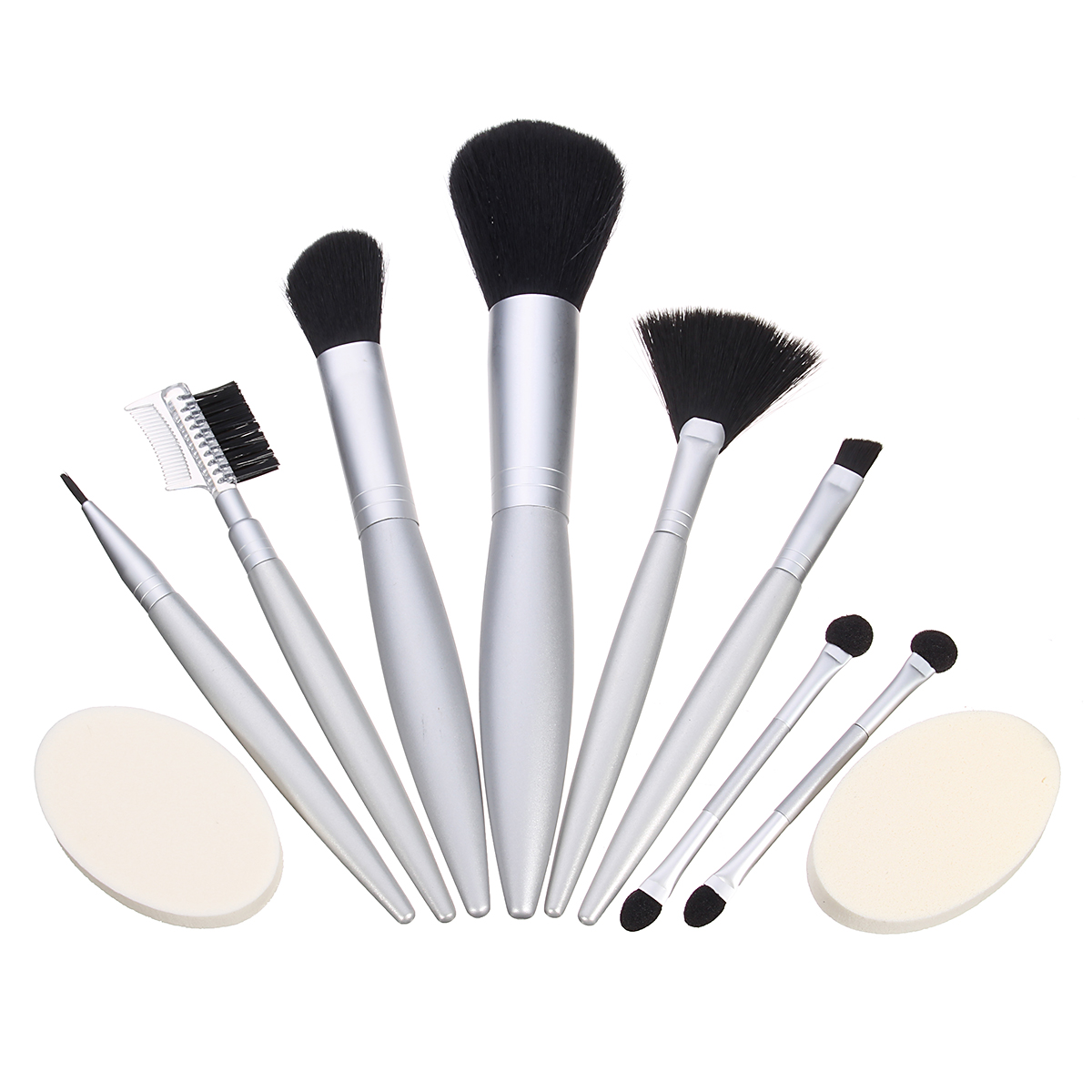 Makeup Brushes Set Kit Sharpener Lip Liner Eye Shadow Eyebrow Cosmetics Puff Fan Blush Mirror