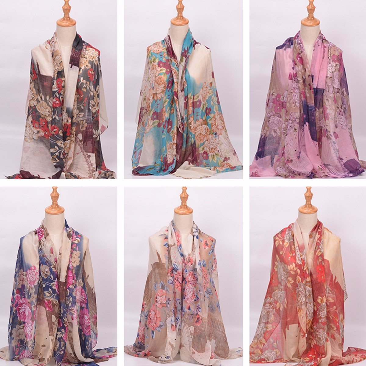 Women Ladies Flower Sky Wheel Printed Voile Scraves Stole Long Soft Shawl Wrap