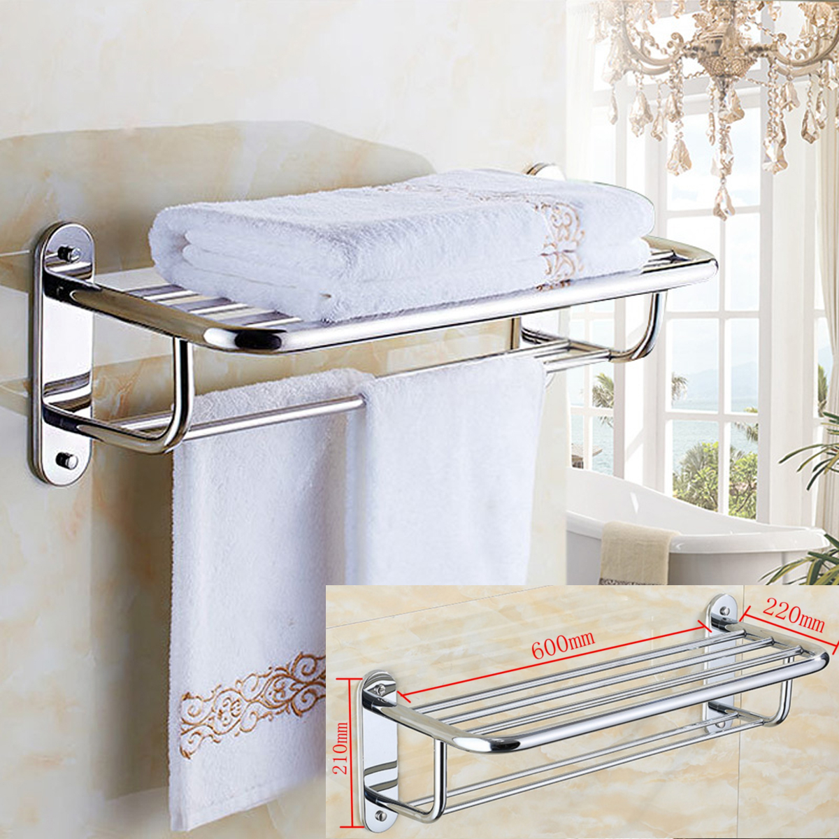 Chrome Stylish Bathroom Wall Mounted Towel Rail Holder Shelf Storage Rack