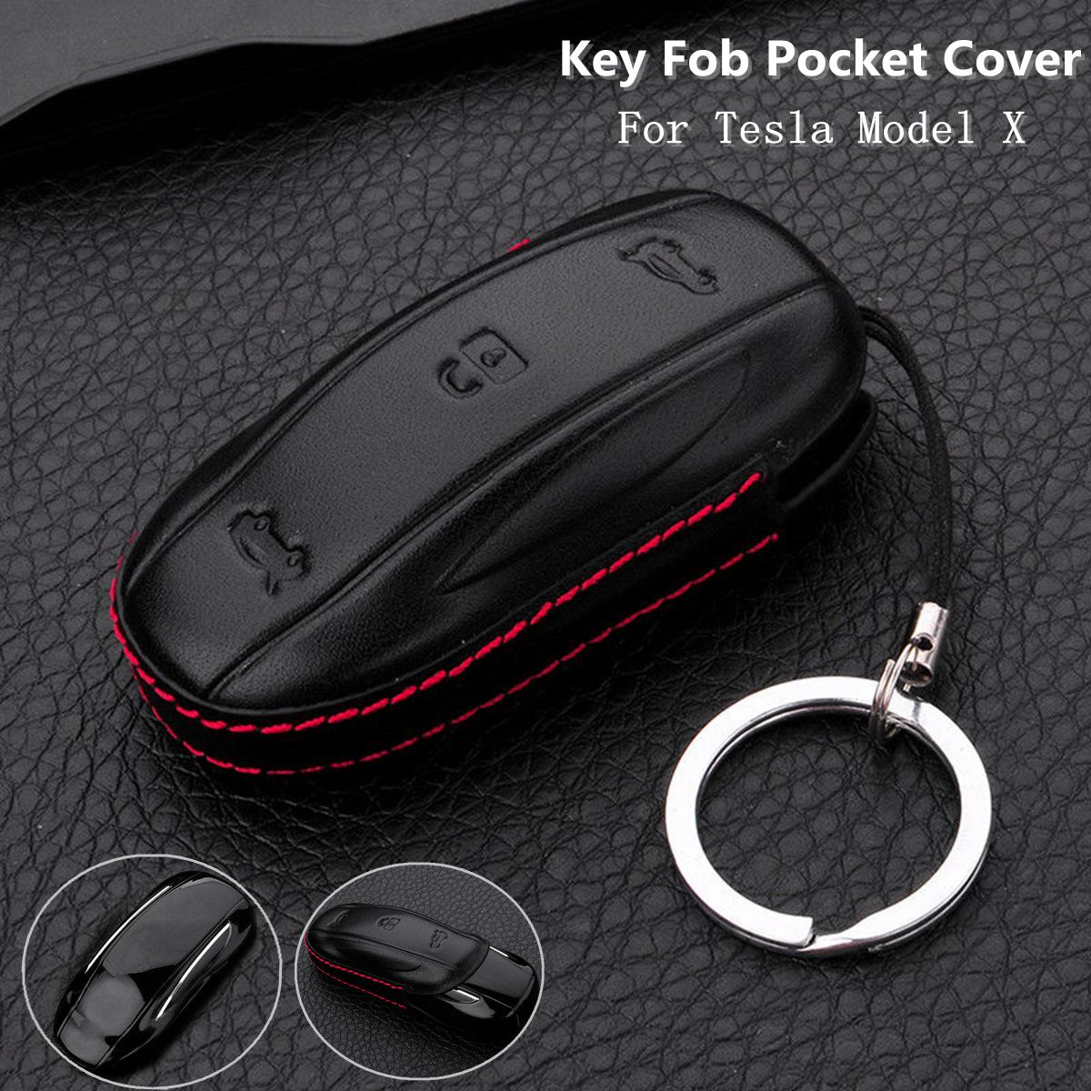 3 Button Remote Key PU Leather Fob Case Cover Shell Holder for Tesla Model X