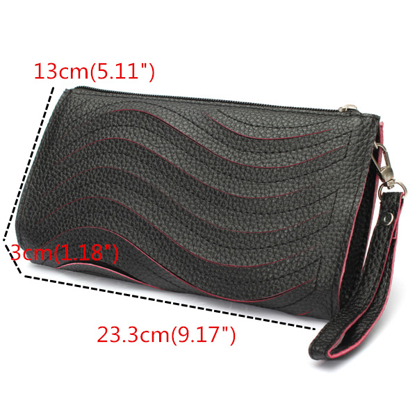 Women's PU Handbag Wave Single Shoulder Cross Body Bag Wrist Clutch Wallet