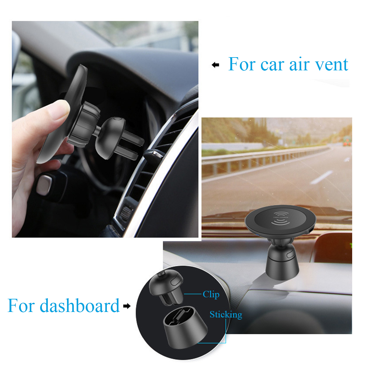 2 in 1 Qi Wireless Charger Car Air Vent Dashboard Phone Holder Magnetic Mount