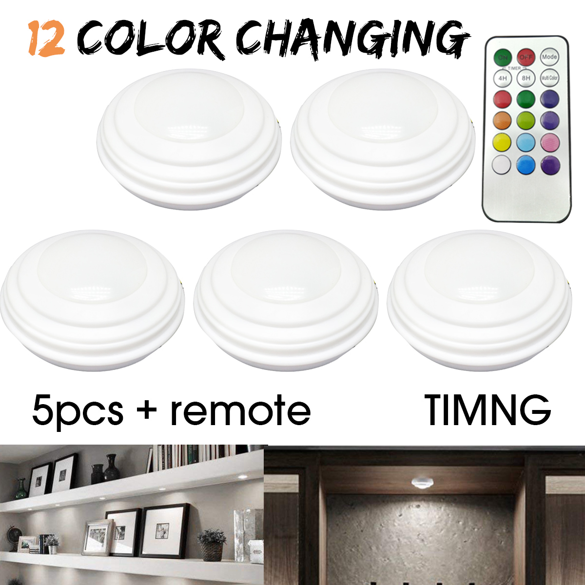 5Pcs LED Wireless Remote Control Night Light 12 Colors Wardrobe Lamp Cabinet Light