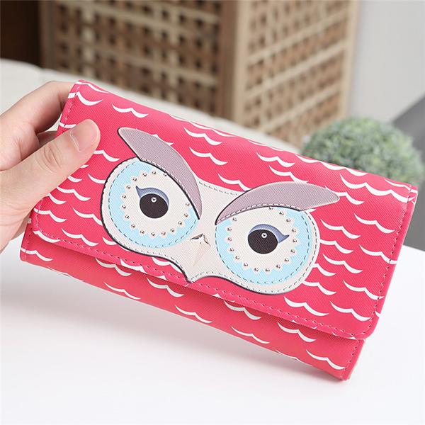 Women Owl Tri-fold Magnet Buckle PU Purses Wallet Clutch Bag