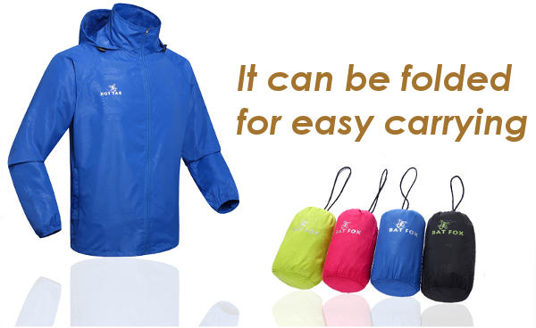 Mens Outdooors Hooded Waterproof Folding Windbreaker Sport Riding Quick Drying Skin Coat