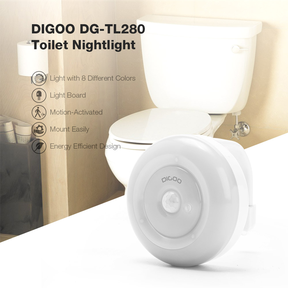 [2019 Third Digoo Carnival] Digoo DG-TL280 8-Colors Motion Activated Sensor LED Toilet Night Light PIR Light Detection with Surface Light