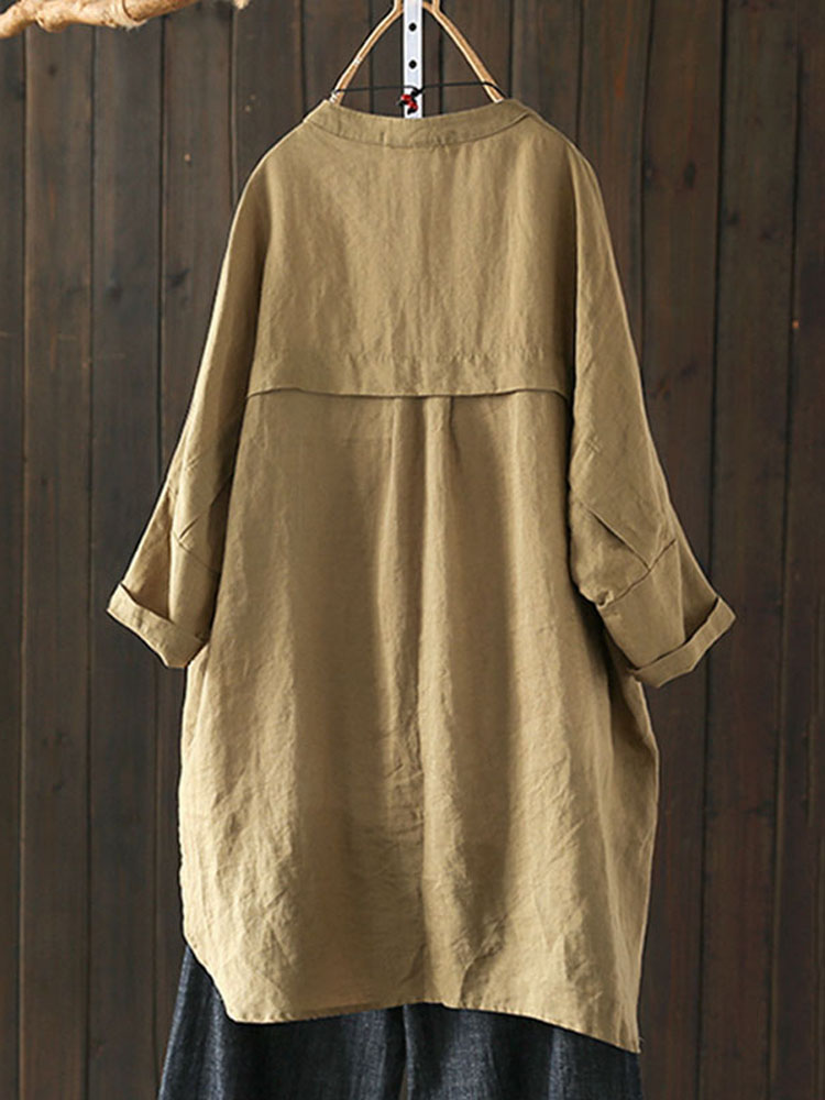 S-5XL Women Long Sleeve Button Down Cotton Asymmetric Vintage Blouse